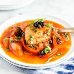 Italian instant pot chicken cacciatore served in a white plate