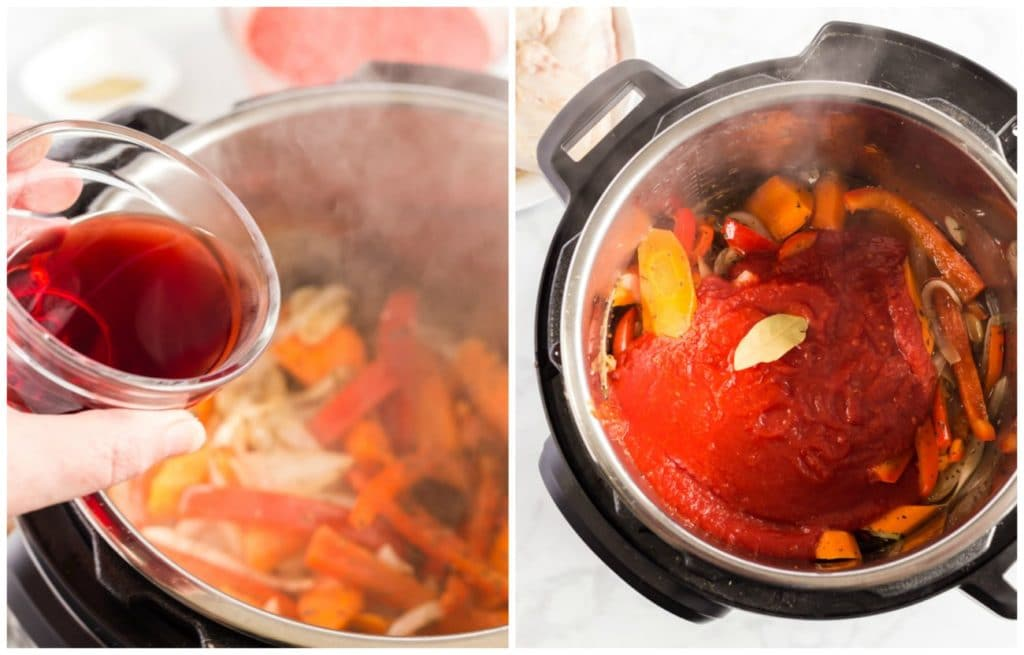 Step by Step photos for making Italian cacciatore chicken. Deglazing the pot and adding the tomatoes and bay leaf,