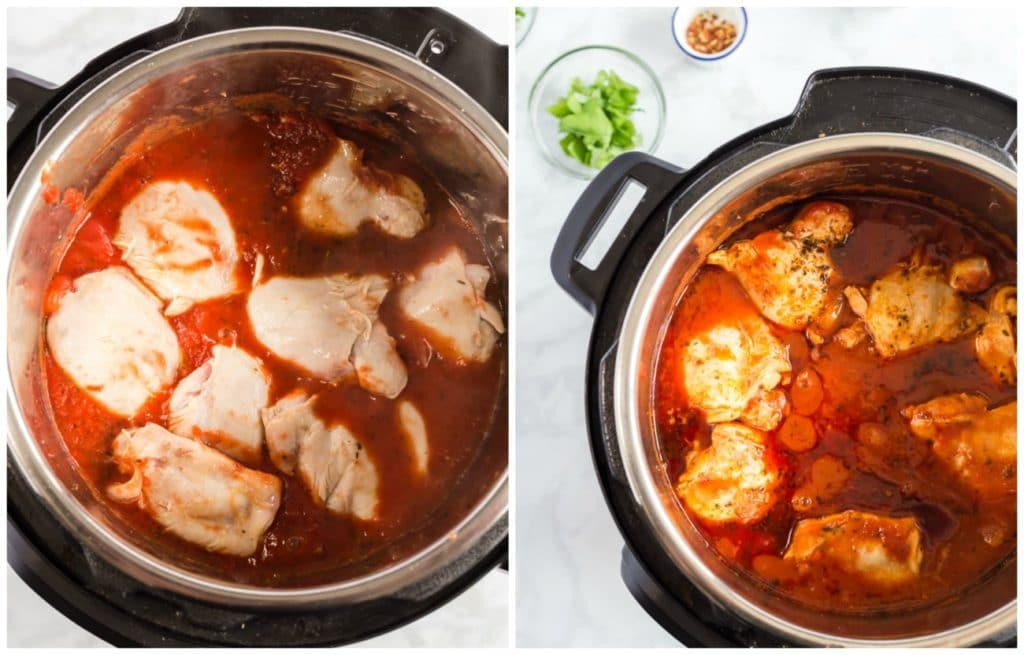 Step by Step photos on making Italian chicken stew. Adding the chicken into the pot