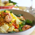 Easy Chicken and Shrimp Paella Salad with Garlic Vinaigrette