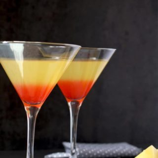 Bikini Martini with coconut rum, vodka, pineapple juice and grenadine