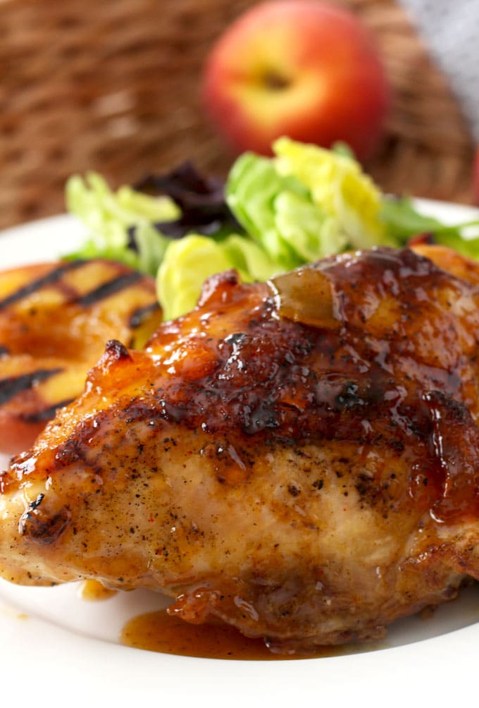 Close up view of a sticky chicken breast