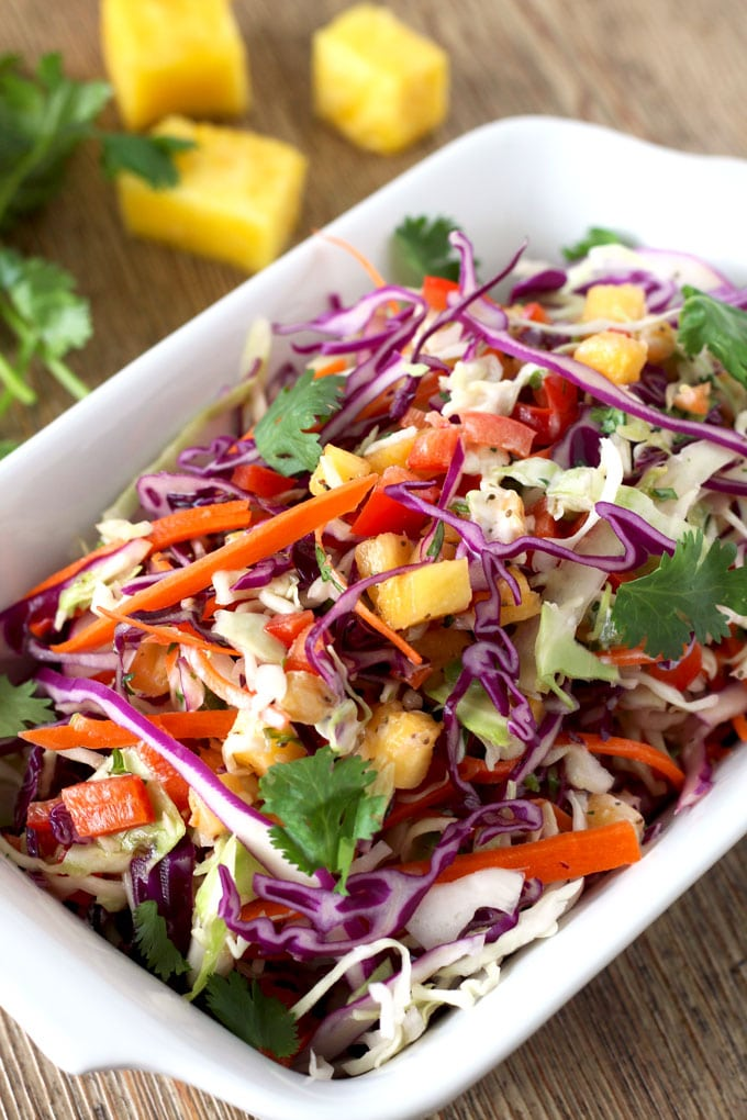 Fresh and crisp slaw with a hint of sweetness from fresh pineapple