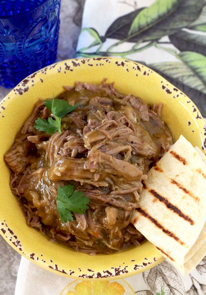 Smoky Pulled Pork Chile Verde Style super tender and full of flavor