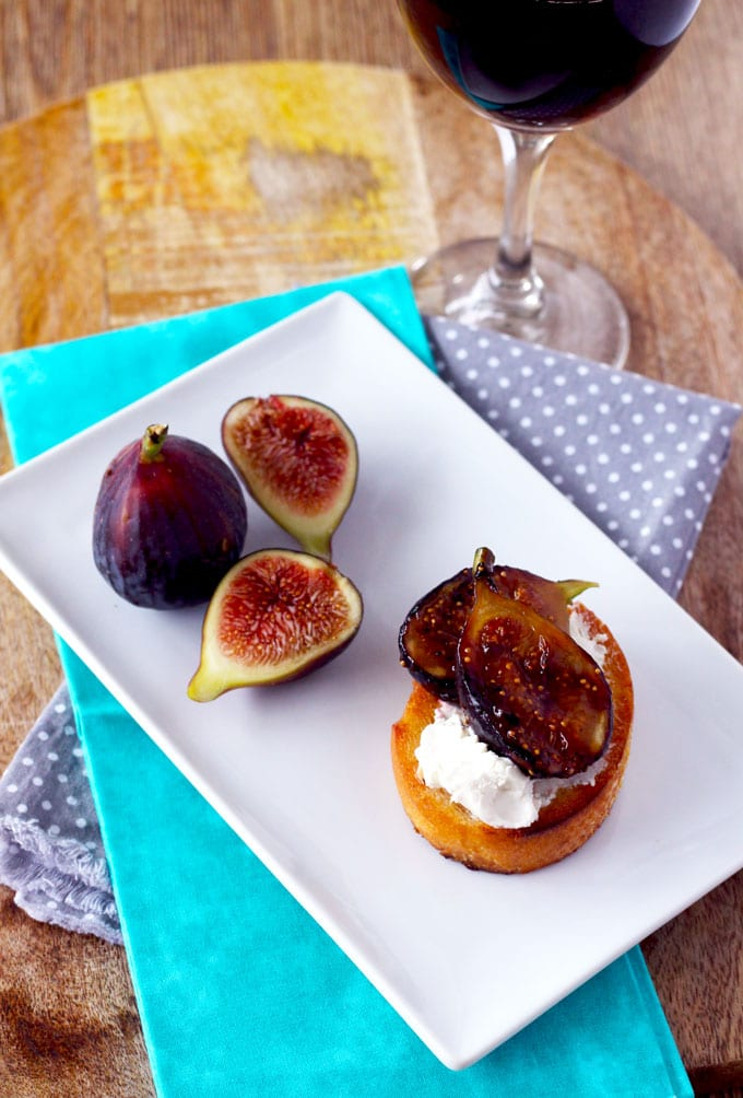This Fabulous Trio of Crostini is my secret weapon for last minute entertaining! Caramelized Figs with Honey and Goat Cheese, Tomato, Mozzarella and Basil with Balsamic Reduction and Tuna Melt with Capers Crostini.