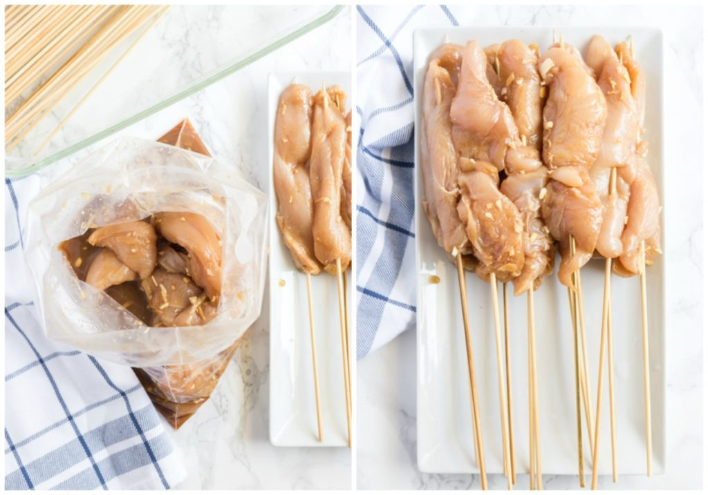 How To Make Satay Step by Step Photos, threading the chicken onto skewers.