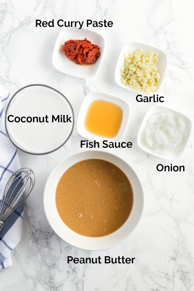Ingredients to make Thai Peanut Sauce