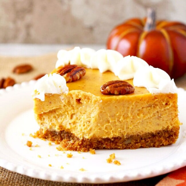 A sliced of creamy pumpkin dessert