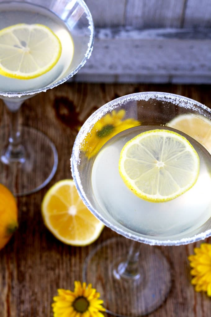 Top view of a glass filled with Lemon Drop Martini!