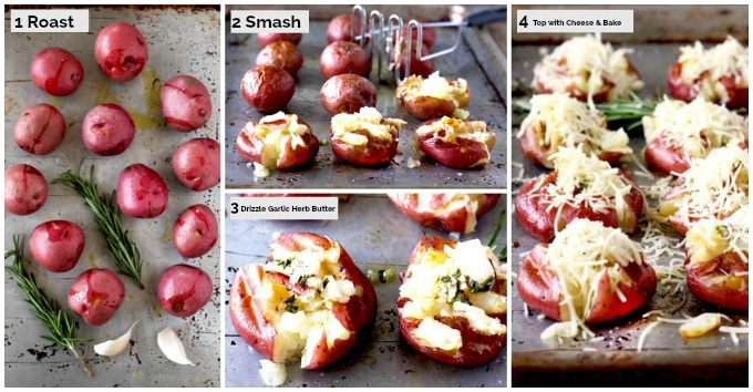 Collage with step by step instructions on how to make Smashed Potatoes