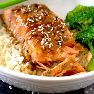Oven Baked Salmon on a white bowl