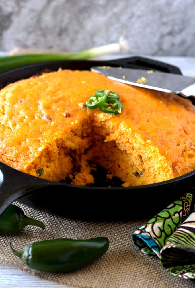 Skillet Cheddar Jalapeno Sweet Potato Cornbread
