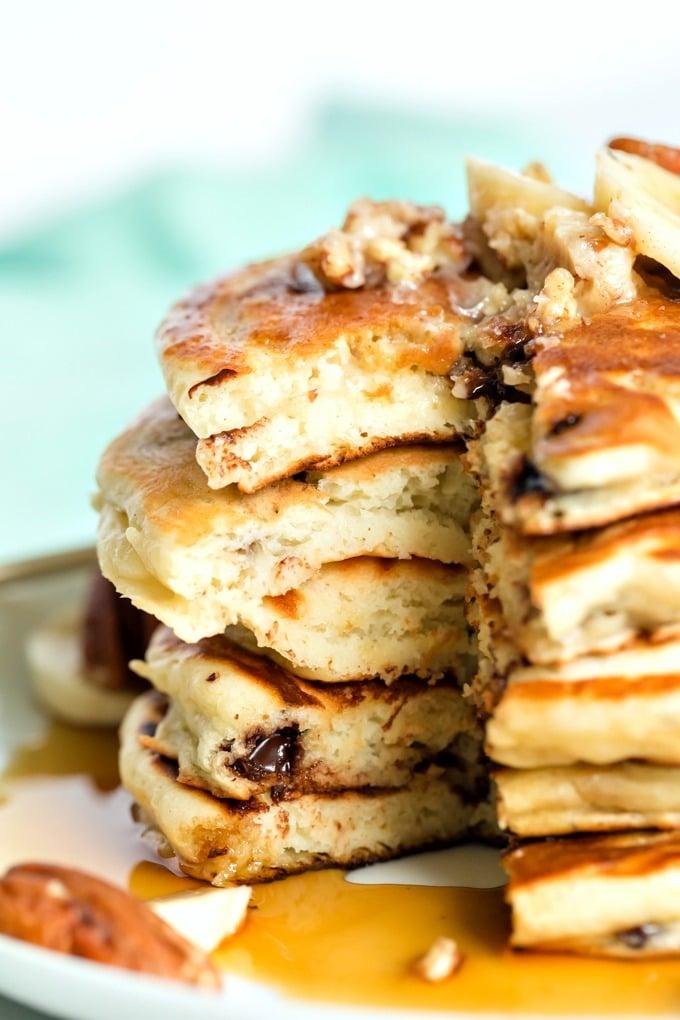 Cut up stuck of pancakes