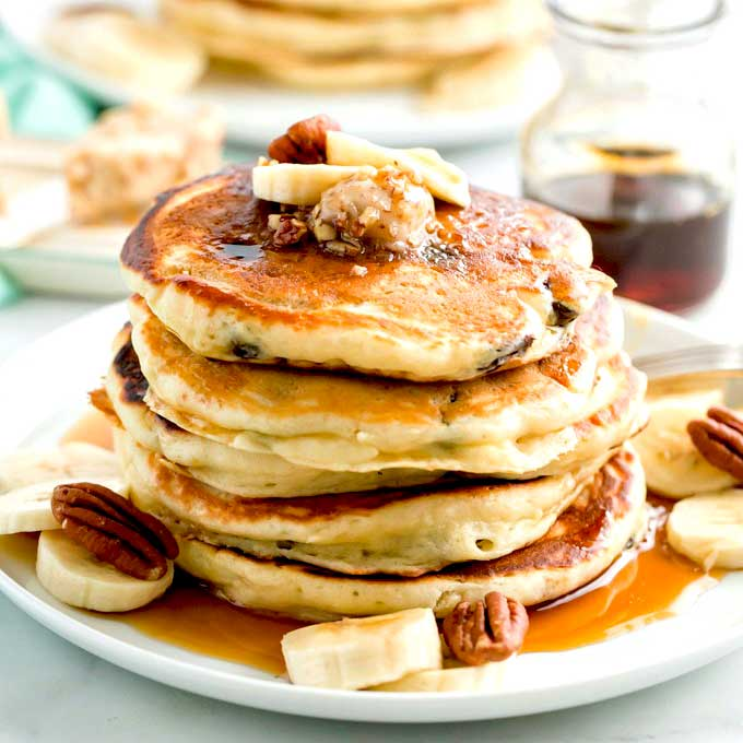 Chocolate Chip Banana Pancakes With Maple Pecan Butter Lemon Blossoms