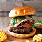 Brie, Pancetta and Gingered-Bourbon Poached Pear Burger