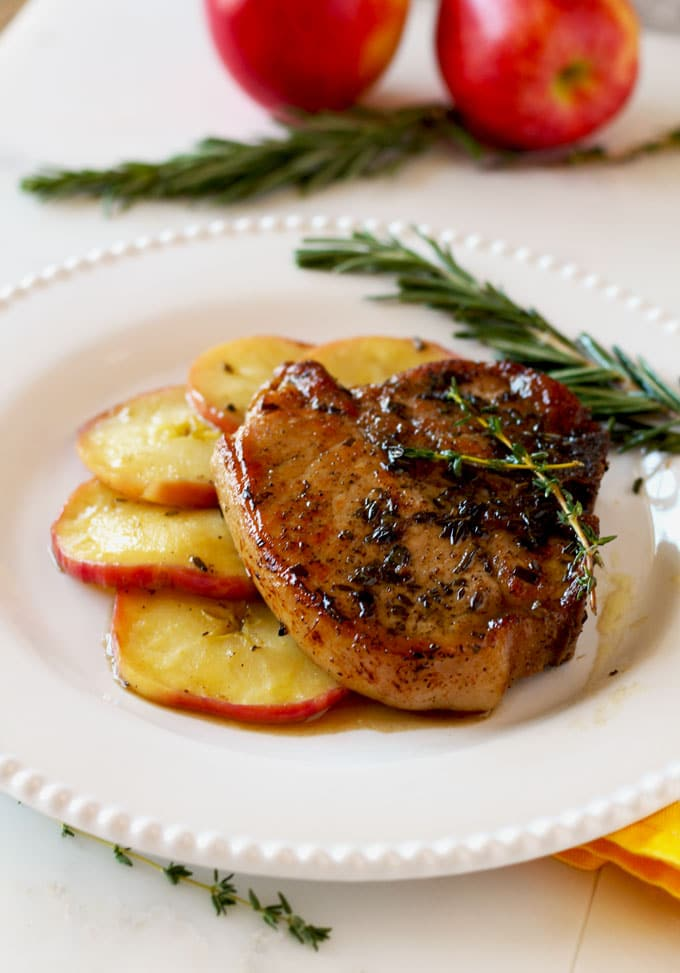 Herb Crusted Pork Chops with Apple and Maple Bourbon Glaze