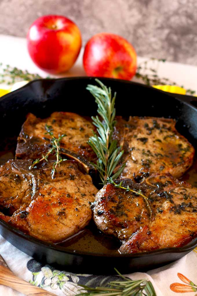 These tender and juicy Herb Crusted Pork Chops with Apple and Maple Bourbon Glaze are delicious and easy to make. The glaze is light, well balanced and totally addictive. The best part, you can have dinner ready in under 30 minutes!