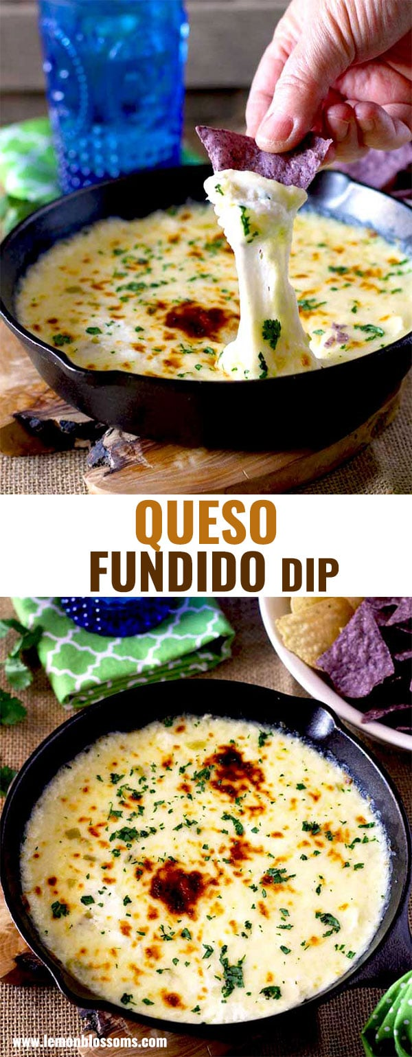 This Queso Fundido Dip is made with only a few ingredients and ready in 10 minutes! This gooey, melty and delicious queso dip is one of the easiest party dips ever! #queso #recipe #easy #dip #creamy #vegetarian #appetizer