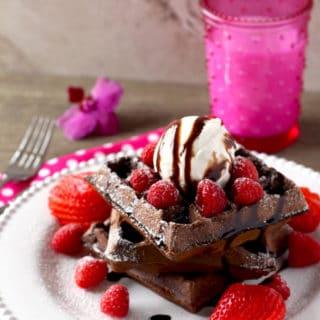 Double Chocolate Waffles a la Mode