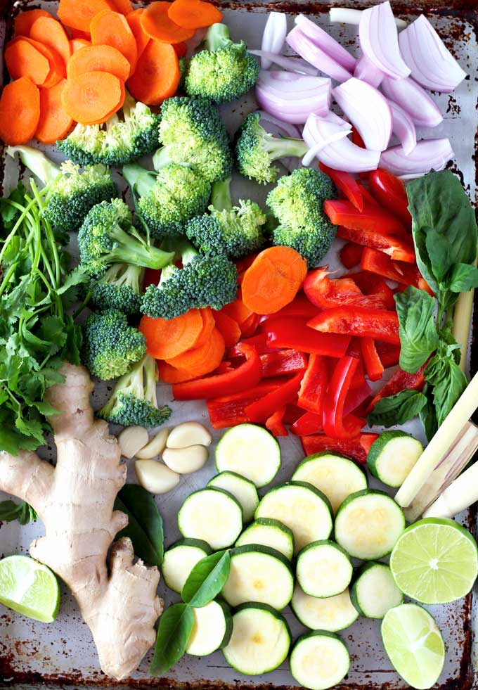 Pictured here are some of the ingredients to make Thai Red Curry Chicken with Vegetables