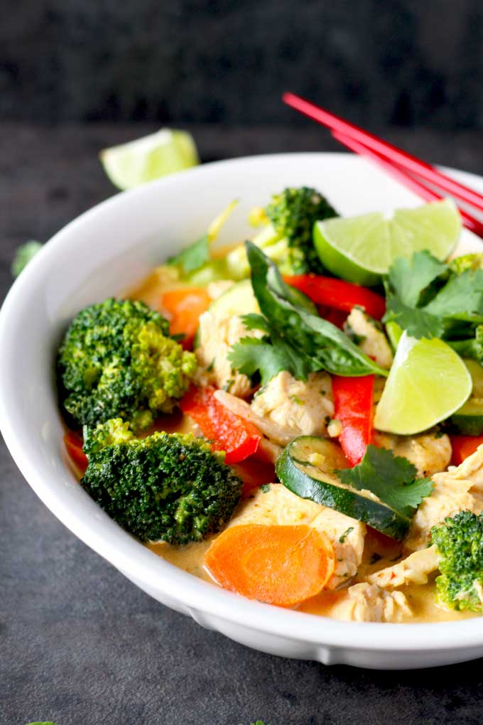 Close-up view of Thai Red Curry with vegetables