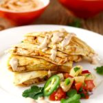 BBQ Chicken Quesadilla with Smoked Gouda, Pineapple Salsa and Chipotle Crema