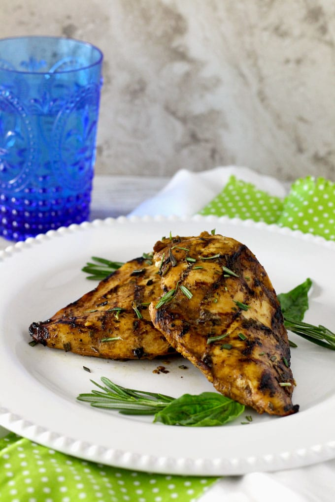Tender, juicy, delicious, and full of great flavor. This Grilled Chicken with the Best Balsamic Herb Marinade is super easy to make and always everyone's favorite!