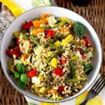 Balsamic marinated vegetables, toasted Israeli couscous, and fresh herbs are tossed in a simple and flavorful lemon vinaigrette. This Grilled Vegetables and Couscous Salad is healthy and delicious!