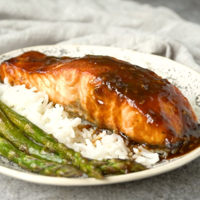 Miso Glazed Salmon Filet over rice