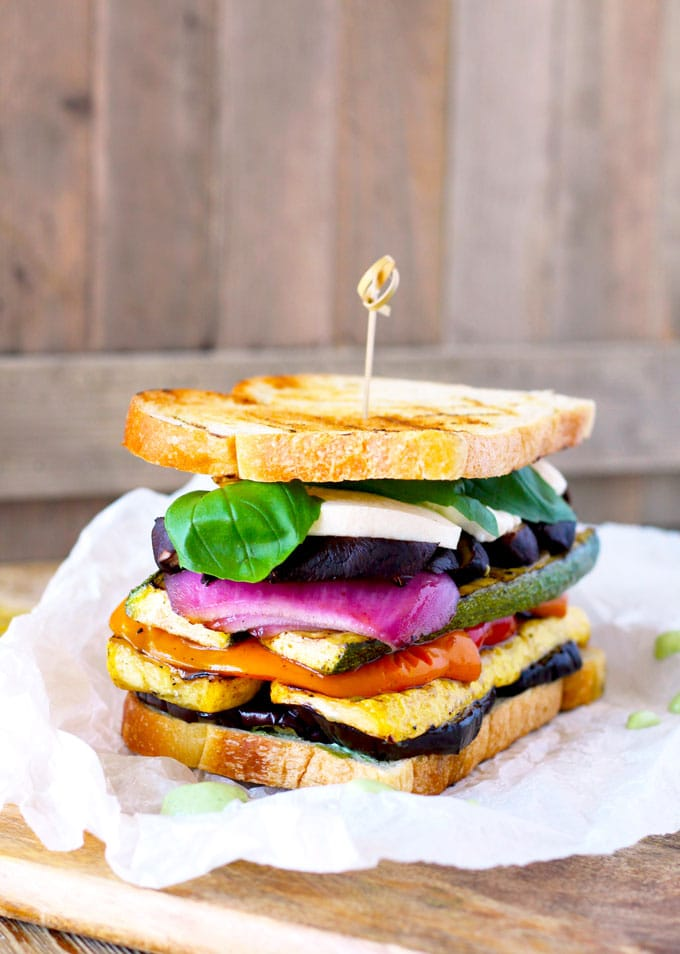 : Loaded with marinated grilled vegetables, fresh mozzarella and a super flavorful and easy to make basil aioli. The Ultimate Grilled Veggie Sandwich is a great vegetarian option that is healthy, filling and delicious. Trust me even meat lovers will love this sandwich!!