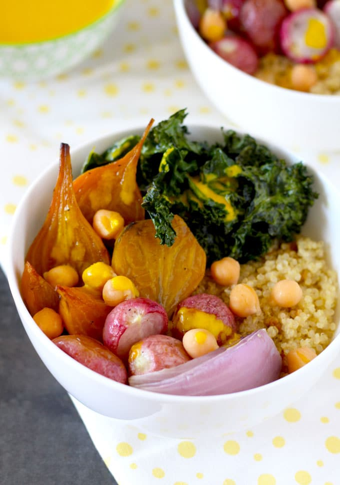 These vegan, gluten free, healthy Quinoa Bowls with Turmeric Tahini Sauce are not only good for you but they are also delicious. Caramelized roasted seasonal vegetables, roasted kale and chickpeas are drizzled with creamy Turmeric Tahini Sauce for one amazing-super-nutritious bowl!