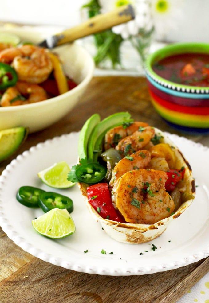 Sheet Pan Shrimp Fajitas with Cilantro Lime Butter | Lemon Blossoms
