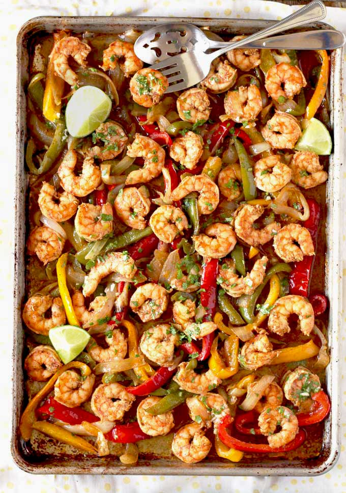 Shrimp Fajitas on a sheet pan