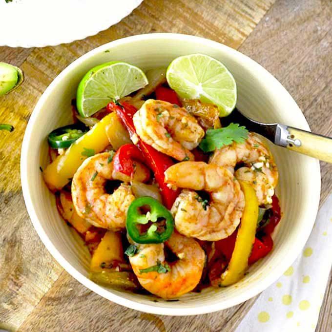 Shrimp Fajitas served in a bowl