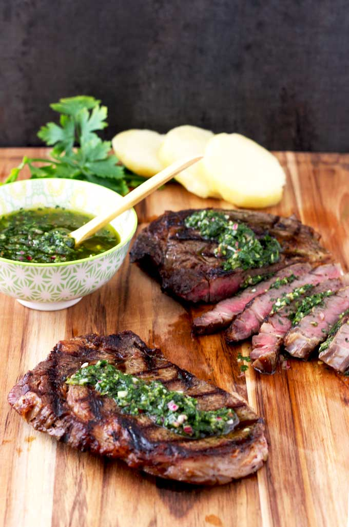 Grilled Rib Eye Steaks With Chimichurri Sauce Lemon Blossoms