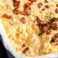 Creamy Mac N Cheese Carbonara in a baking dish with crispy topping.