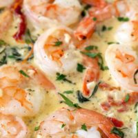 This Creamy Tuscan Shrimp is loaded with flavor! Succulent shrimp in creamy and rich garlic Parmesan sauce with sun dried tomatoes and spinach. The perfect easy shrimp recipe to impress your guests.
