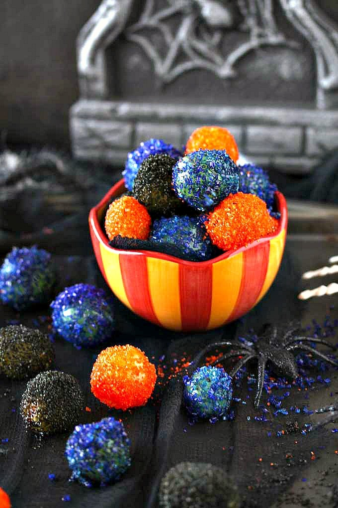 Halloween candied grapes in a festive bowl