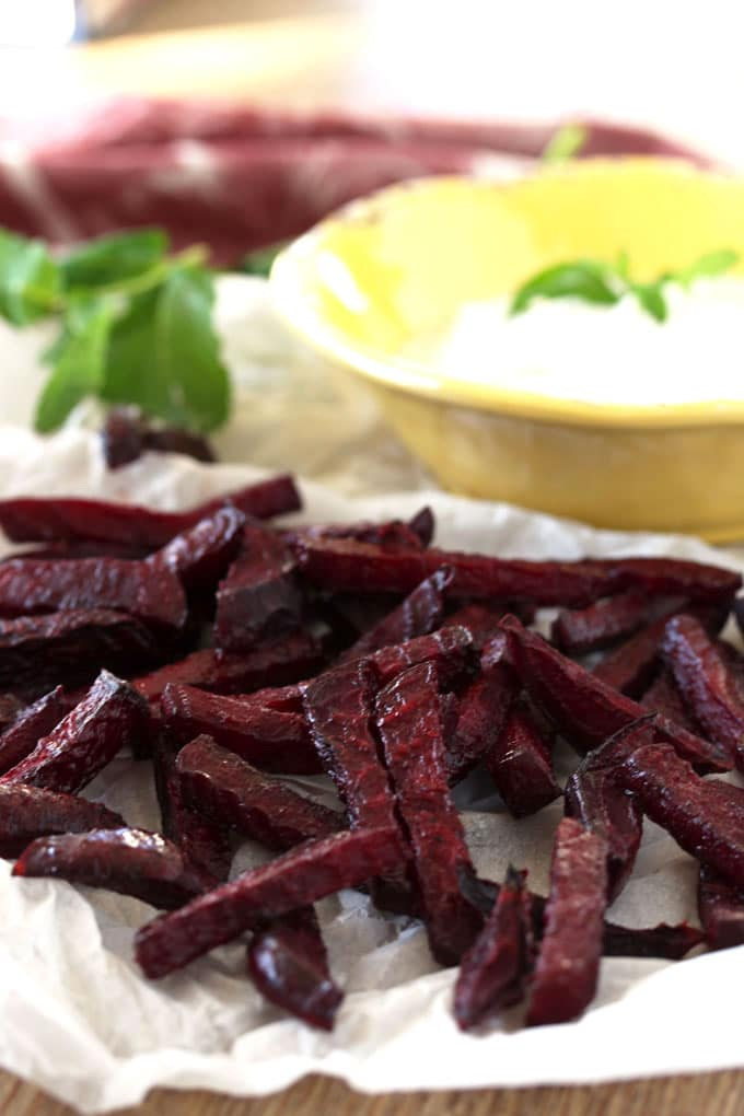 Crispy Oven Roasted Beets with Herbed Yogurt Dip