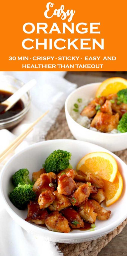 View of a white bowl with easy orange chicken with broccoli and garnished with orange slices. Next to it you can see a smaller bowl filled with white steamed rice, orange chicken and broccoli;i next to a small bowl of orange sauce.