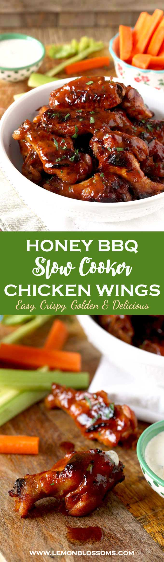 These Slow Cooker Chicken Wings are cooked in a tasty Honey BBQ sauce until fall off the bone tender. Quickly broiled until golden then served smothered in more sauce! This easy appetizer will be the hit at your next party or game night! #appetizer #gamenight #chickenwings #crockpot #slowcooker