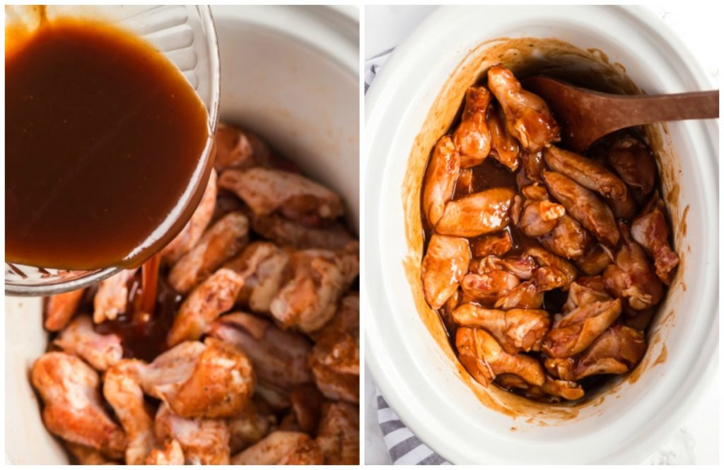 Step By Step Photos on How To Make Chicken Wings in the Crock Pot. Pouring the Boney BBQ sauce over the wings.