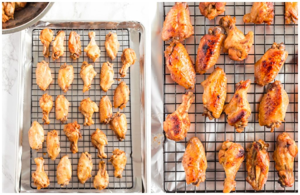 How To Make Wings in a slow cooker step by step photos. Wings on a rack. Broiled, golden brown wigs on a rack.