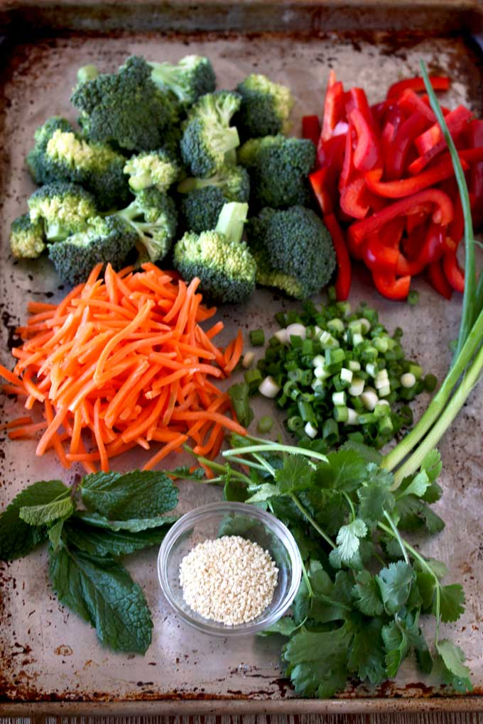 View of a tray filled with ingredients to make these Asian Sesame Noodles. Broccoli florets, sliced red bell peppers, shredded carrots, sliced scallions, cilantro, mint and sesame seeds.
