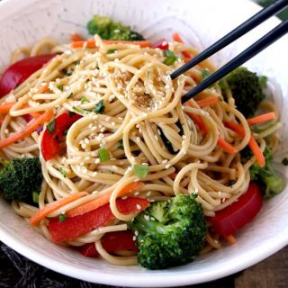 Sesame Noodles served on a white bowl