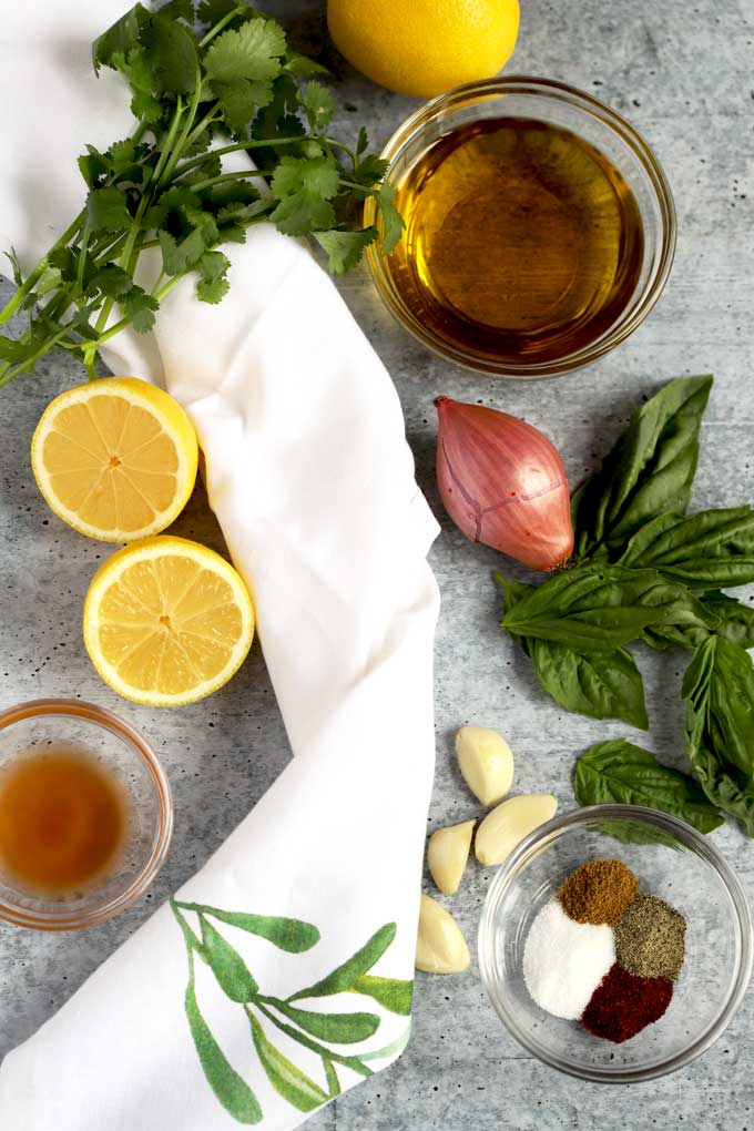 Ingredients to make the Roasted Chicken Thigh marinade,