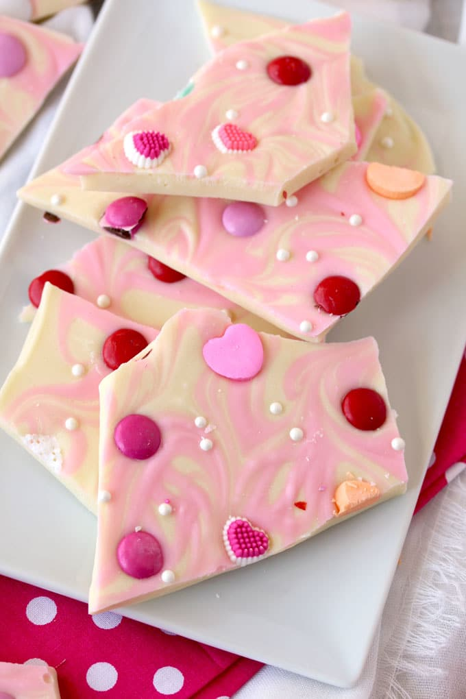 Closer view of Valentine's Bark pieces on a white plate.