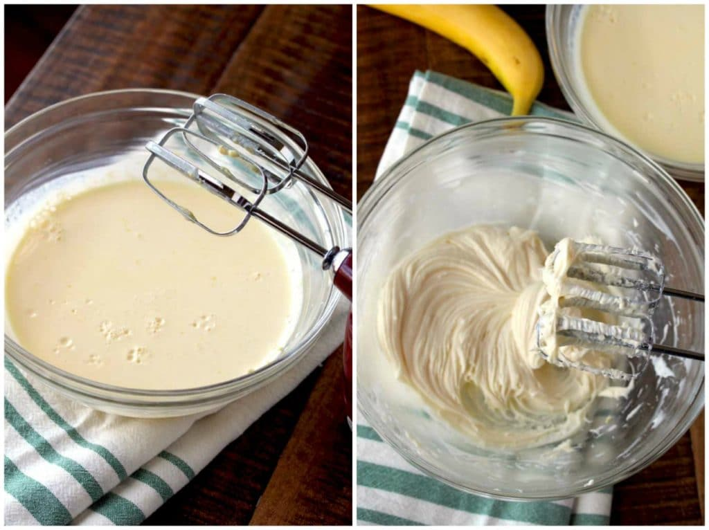 Step by step photos for making banana cream pie dip