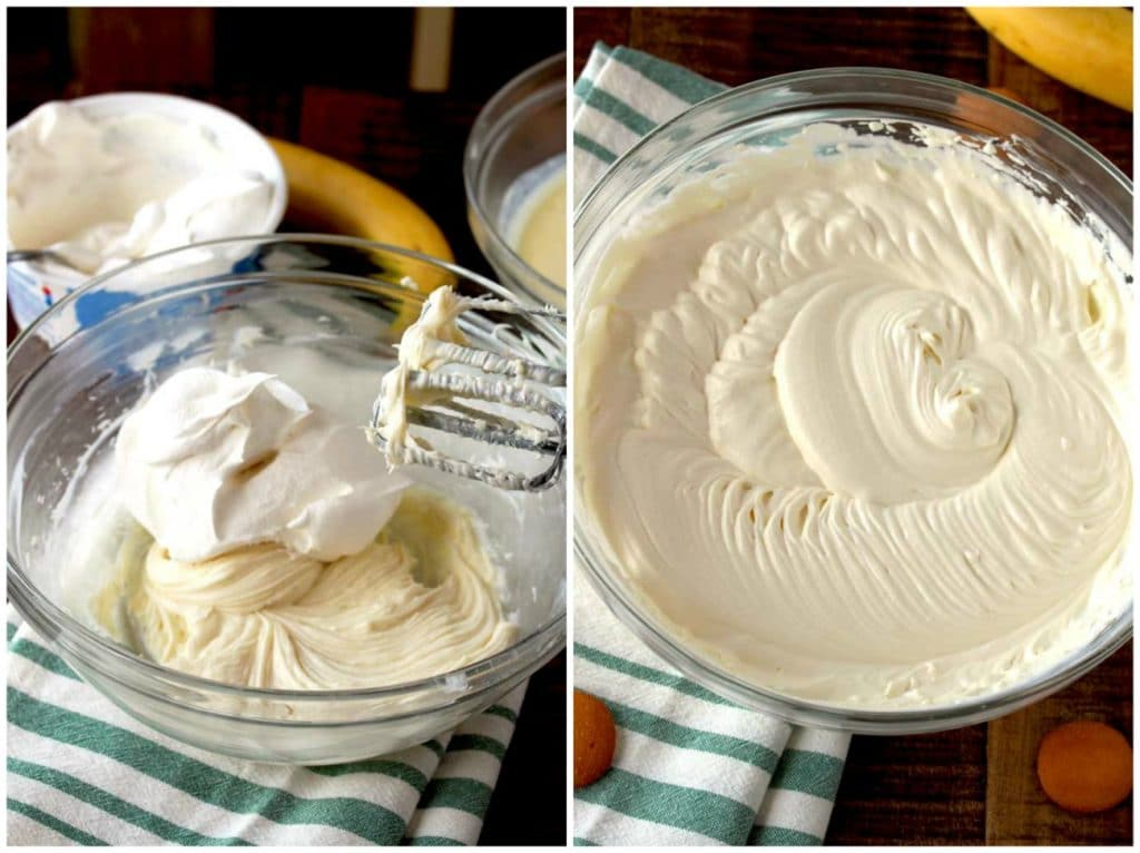 Step by step photos for making banana cream dip
