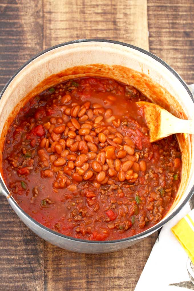 Chili with beans on top in a large pot